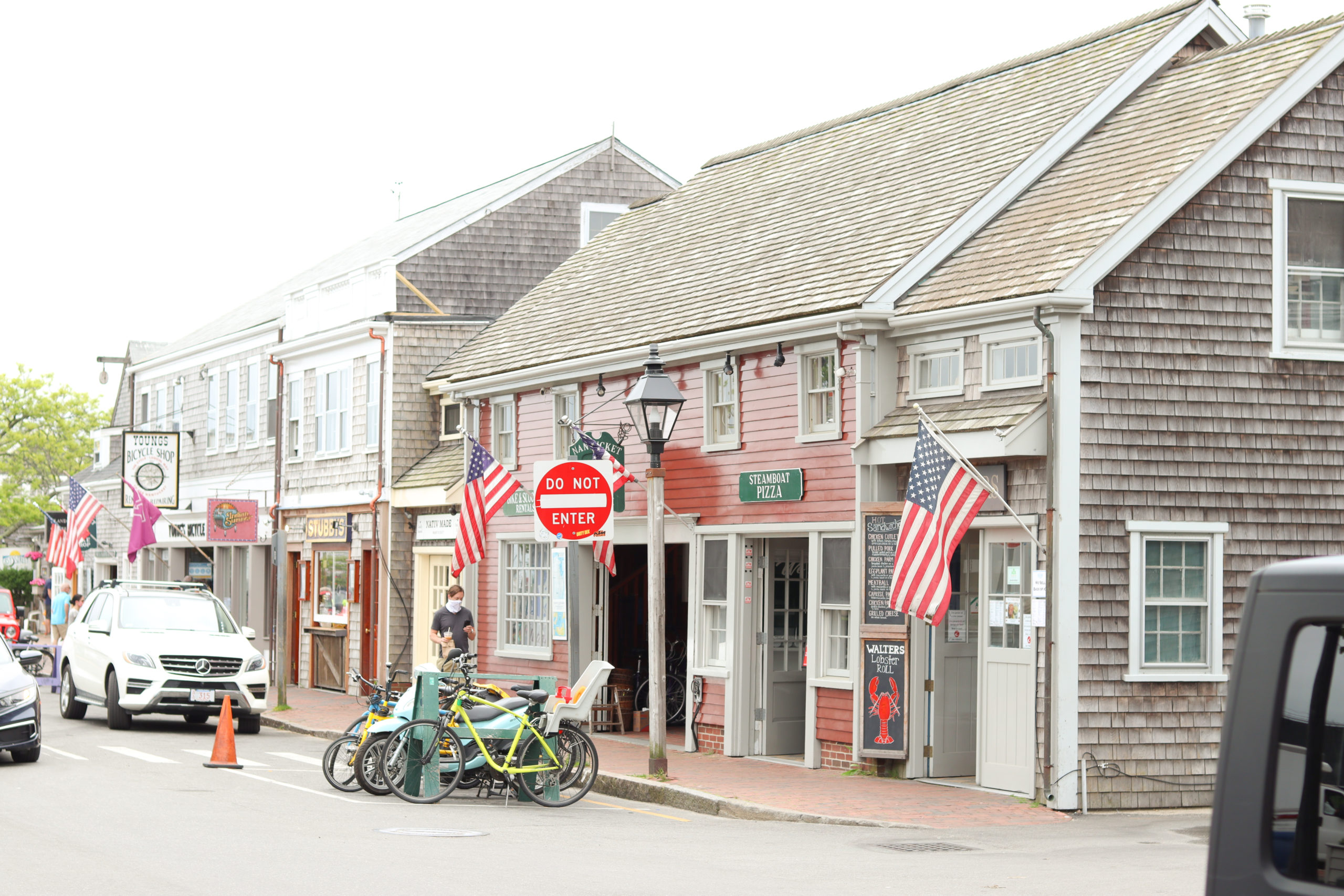 Shops lining Nantucket's historic downtown, a popular road trip destination in the summer.