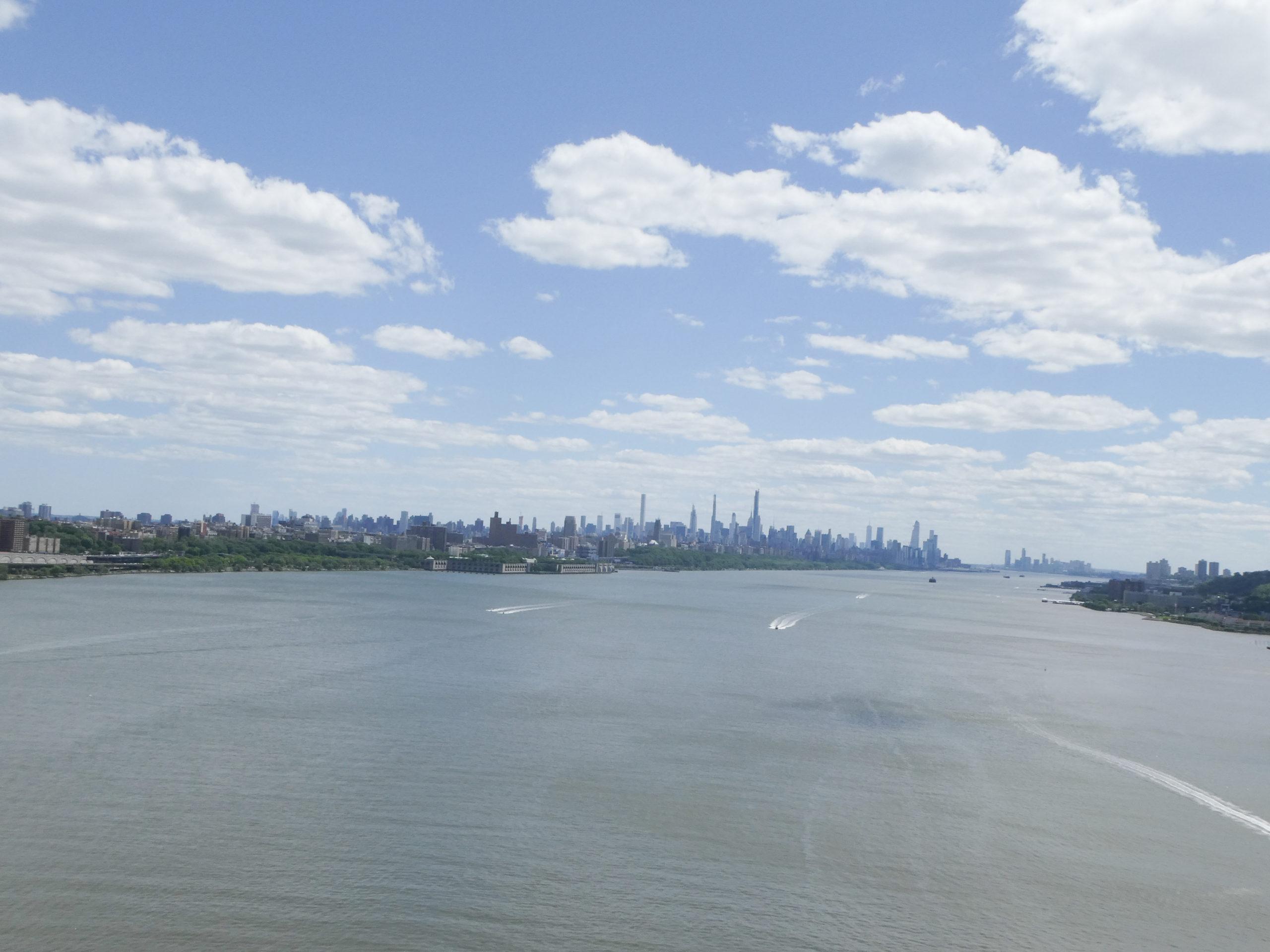 View of Manhattan from the bike the George Washington Bridge