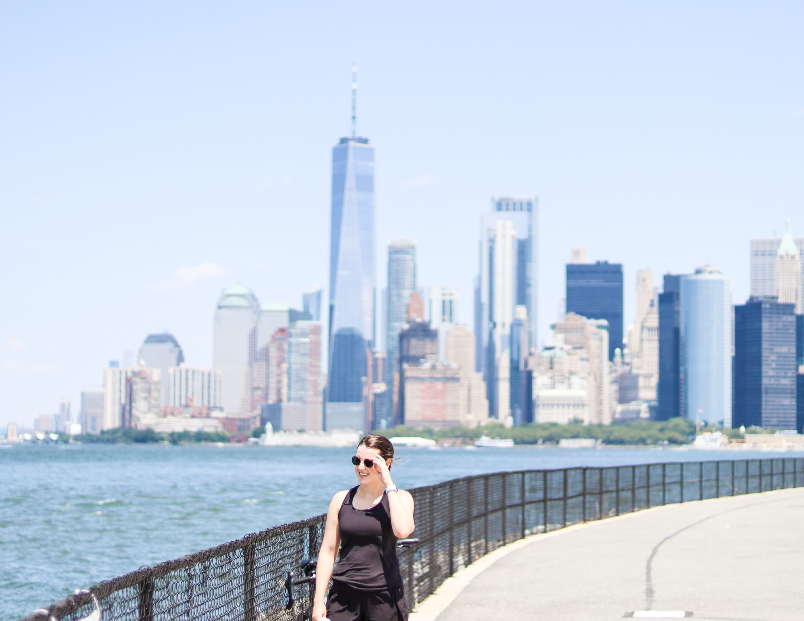 Women standing in walking path on Governors Island