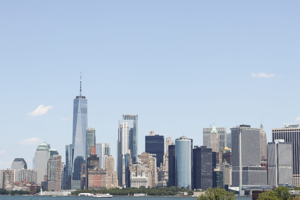 The view from Governor's Island with the Manhattan skyline in the background.