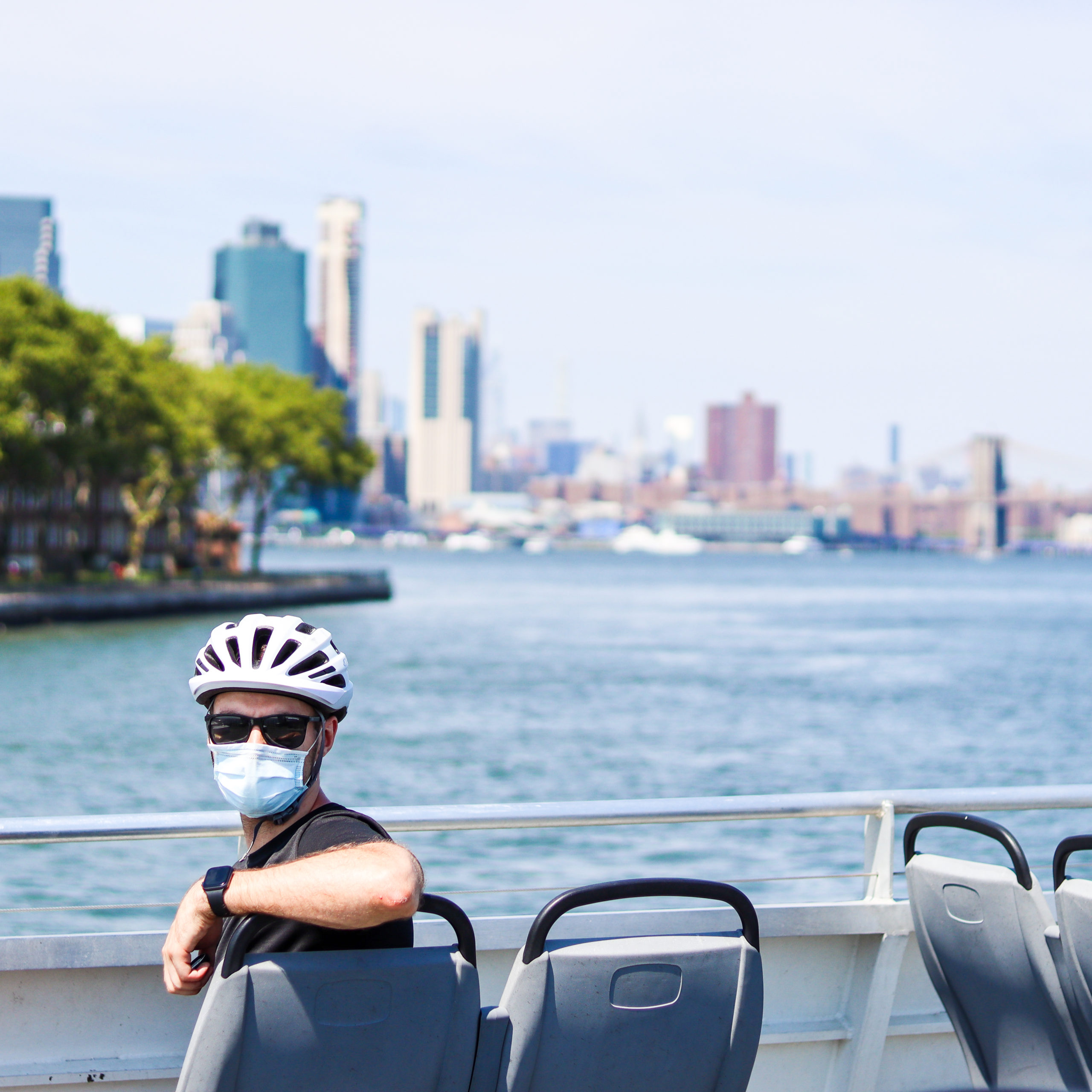 Man on Governors Island ferry