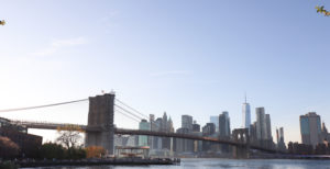 The Brooklyn Bridge and Manhattan skyline, the view from Dumbo.