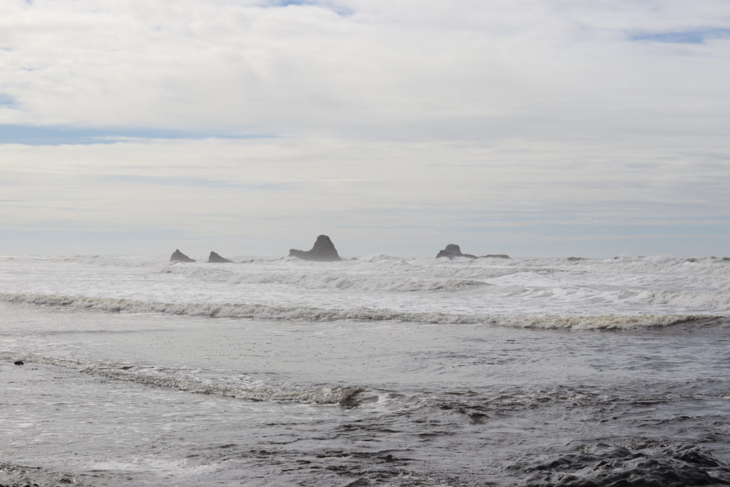 A view of the ocean and sea stacks on ONP beaches