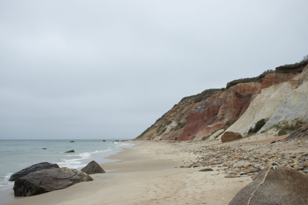 A view of coastline cliffs at A view of the shoreline at one of the Martha's Vineyard beaches