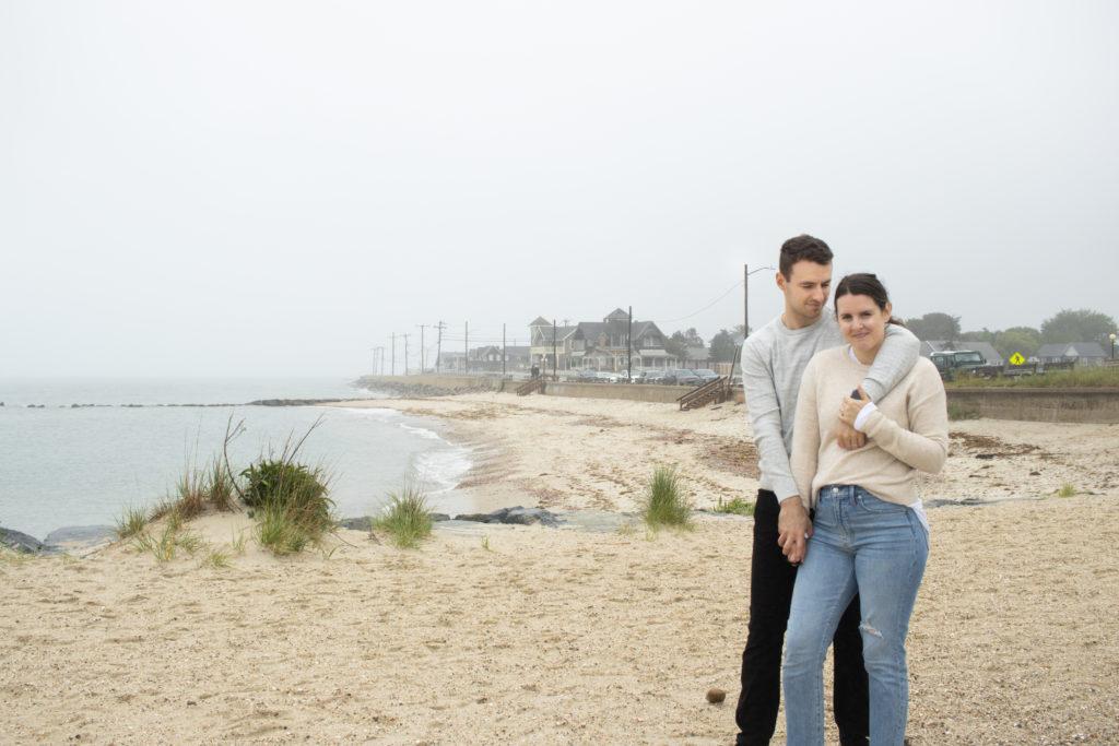 Couple standing on a beach in Oak Bluffs, Martha's Vineyard